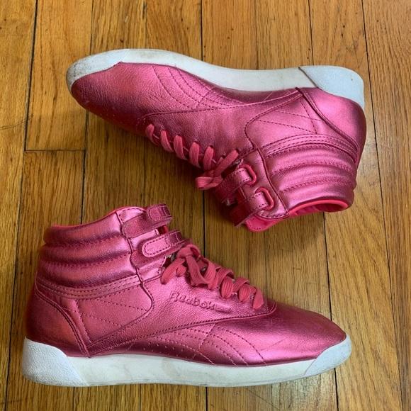 Reebok Freestyle Hi Metallic Sharp Pink